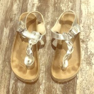 BRAIDED SIZE TWO SILVER SANDALS GIRLS